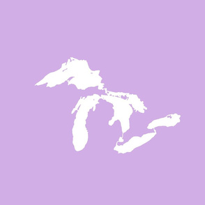 "Great Lakes silhouette - 18"" white on lilac"