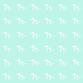 "mini Great Lakes silhouette - 3"" white on mint"