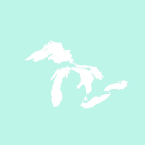"Great Lakes silhouette - 18"" white on mint"