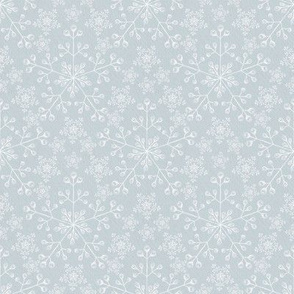 Chalk Snowflakes Lace on Gray-Blue