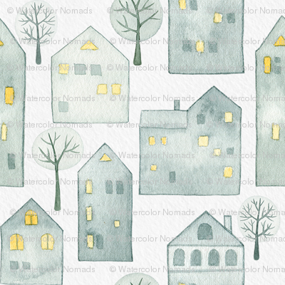Snowy Winter Houses White