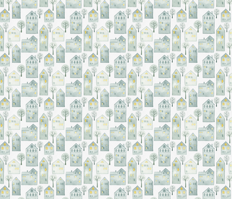 Snowy Winter Houses White fabric by watercolor_nomads on Spoonflower - custom fabric