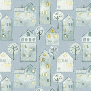 Snowy Village Houses