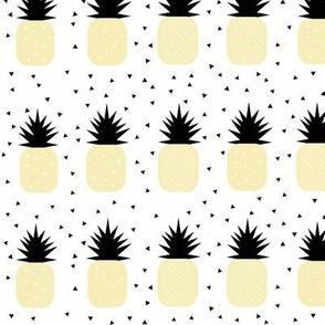 Pineapples - pastel yellow geometric pineapples tropical fruit