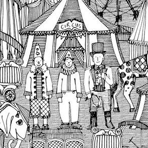 retro circus black white