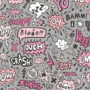 Comic Book Speech Text Bubbles Superhero Doodle Pink On Dark Grey