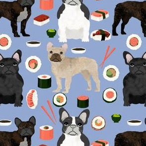 frenchie sushi fabric cute french bulldog design - periwinkle