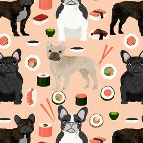 frenchie sushi fabric cute french bulldog design - peach