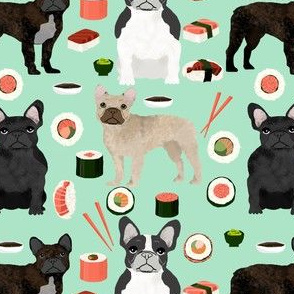 frenchie sushi fabric cute french bulldog design - mint