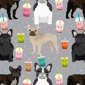 frenchie bubble tea fabric kawaii boba design cute dogs -grey
