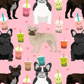 frenchie bubble tea fabric kawaii boba design cute dogs -pink