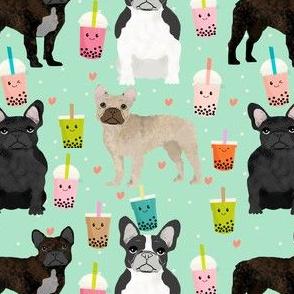 frenchie bubble tea fabric kawaii boba design cute dogs -mint
