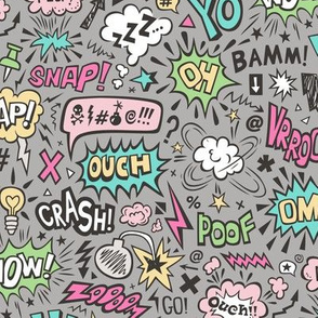Comic Book Speech Text Bubbles Superhero Doodle Pink Mint Yellow Green on Dark Grey