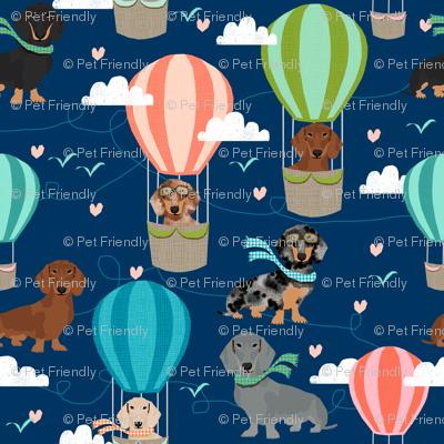 dachshund hot air balloon fabric cute dogs aviator cute fabric - navy