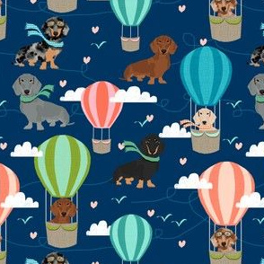 dachshund hot air balloon fabric cute dogs aviator cute fabric - navy