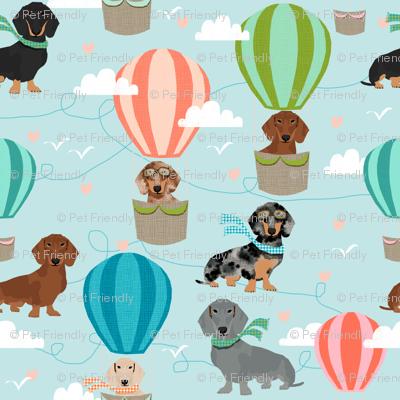 dachshund hot air balloon fabric cute dogs aviator cute fabric - light blue