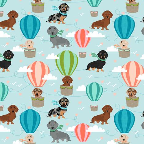dachshund hot air balloon fabric cute dogs aviator cute fabric - light blue fabric by petfriendly on Spoonflower - custom fabric