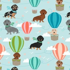 dachshund hot air balloon fabric cute dogs aviator cute fabric - light blue