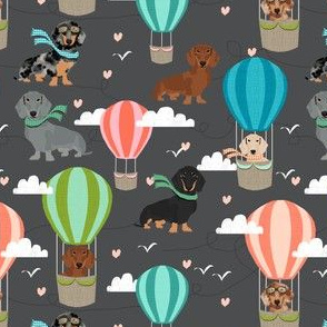 dachshund hot air balloon fabric cute dogs aviator cute fabric - charcoal