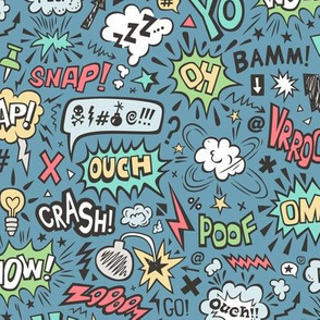 Comic Book Speech Text Bubbles Superhero Doodle On Dark Blue