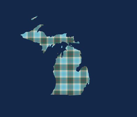 "Michigan silhouette - 18"" tartan on navy fabric by weavingmajor on Spoonflower - custom fabric"