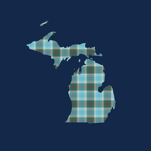 "Michigan silhouette - 18"" tartan on navy"