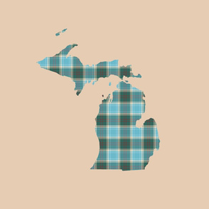 "Michigan silhouette - 18"" tartan on driftwood tan"