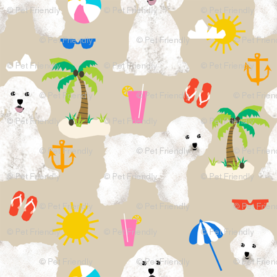 bichon frise fabric cute dogs and beach summer design -  sand
