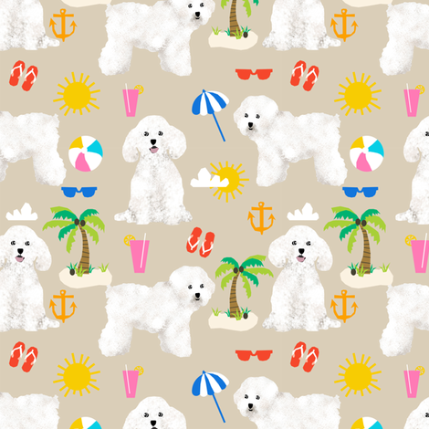 bichon frise fabric cute dogs and beach summer design -  sand fabric by petfriendly on Spoonflower - custom fabric