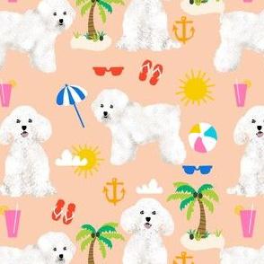 bichon frise fabric cute dogs and beach summer design - peach