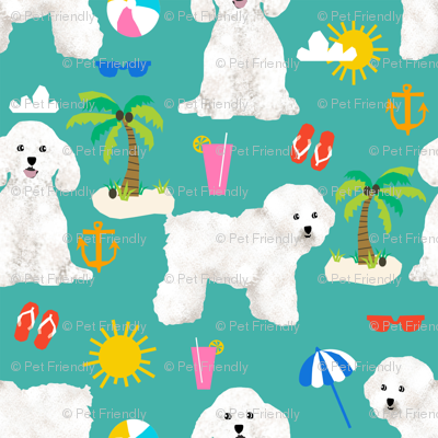 bichon frise fabric cute dogs and beach summer design - turquoise