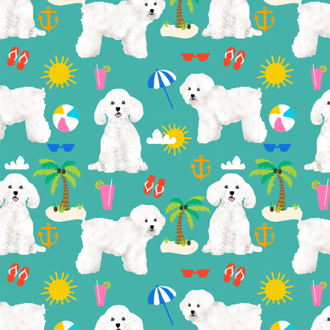bichon frise fabric cute dogs and beach summer design - turquoise fabric by petfriendly on Spoonflower - custom fabric