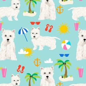 westie fabric dogs beach summer tropical design - light blue
