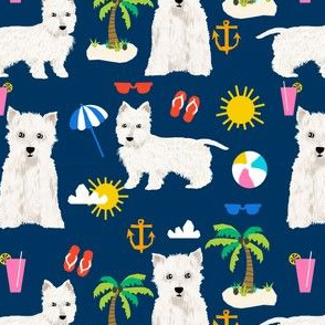 westie fabric dogs beach summer tropical design - navy