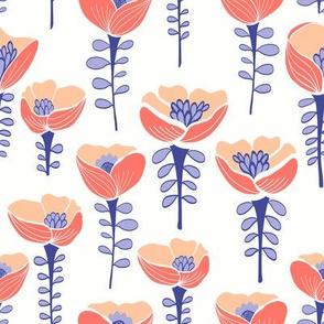 Poppy Field White & Blue
