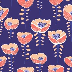 Poppy Field Blue & Coral