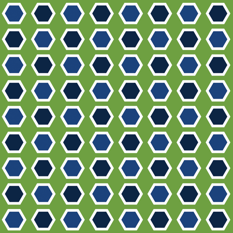 Blue Hexies on Green fabric by anniecdesigns on Spoonflower - custom fabric