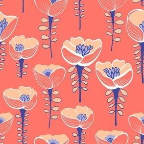 Poppy Field Coral & Blue