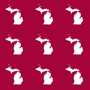 "Michigan silhouette - 6"" white on cranberry"