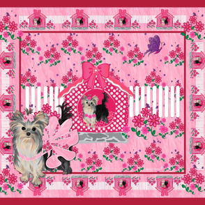 "Yorkie Brandy Pink House - 42x36"" panel"