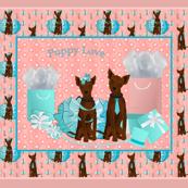 """Mini Pinscher - Red Doberman 42x36"""" Quilt Panel"""