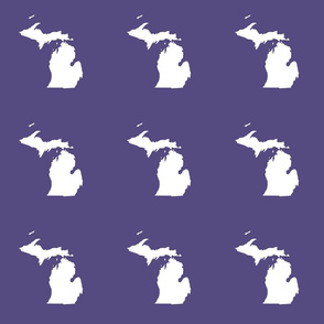 "Michigan silhouette - 6"" white on purple"