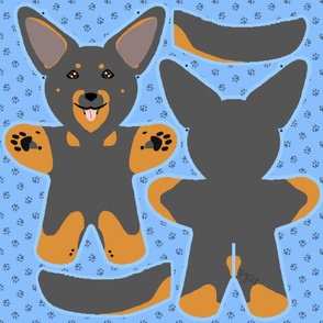 Kawaii Beauceron plushie on blue - black and rust