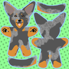 Kawaii Beauceron plushie on green - harlequin