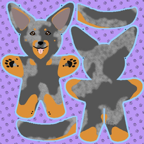 Kawaii Beauceron plushie on purple - harlequin