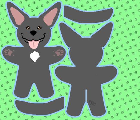 Kawaii Pitbull Terrier plushie on green - black fabric by rusticcorgi on Spoonflower - custom fabric