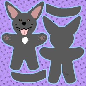 Kawaii Pitbull Terrier plushie on purple - black