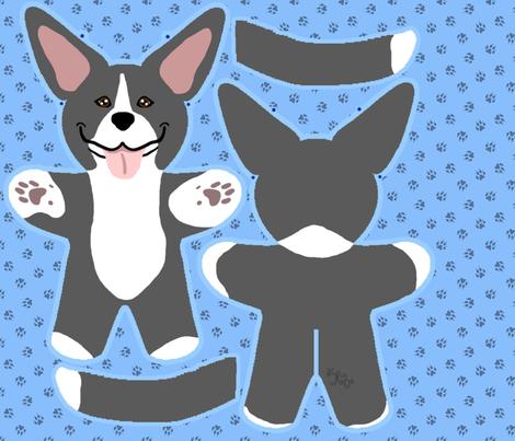 Kawaii Pitbull Terrier plushie on blue - black and white fabric by rusticcorgi on Spoonflower - custom fabric