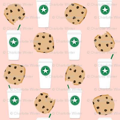 coffee and cookies micro print blush