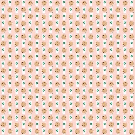 coffee and cookies micro print blush fabric by charlottewinter on Spoonflower - custom fabric